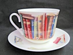 CREATIVE WRITE BREAKFAST CUP SAUCER fine bone china Made in