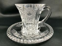 Crystal Glass Coffee Tea Set of 1+1 Cup 3 oz &  Saucer Bohem