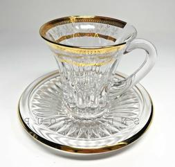 Crystal Glass Coffee Tea Set of 6 Cups 3 oz & 6 Saucers Bohe