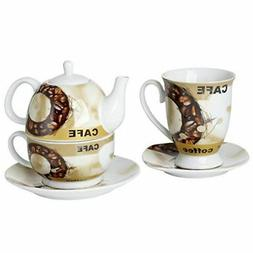 Cucina Italiana  Stackable Tea Pot with Tea Cup and Saucer S