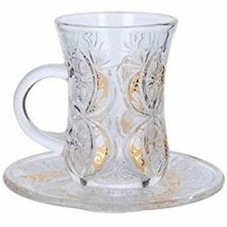 "Cup & Saucer Sets "" Turkish Tea Coffee Glass Gold Color Desi"