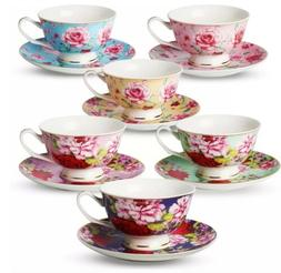 BTäT- Tea Cups, Tea Cups and Saucers Set of 6, Tea Set, Flo