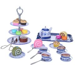 39pcs Blue And White Porcelain Tea Set Cake Stand And Desser