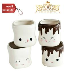 Cute Marshmallow Shaped Hot Chocolate Mugs-Ceramic-Set of 4,