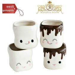 Cute Marshmallow Shaped Hot Chocolate Mugs-Ceramic-Set of 4,