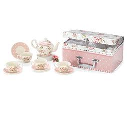 Child's Tea Set Porcelain Dainty Pink Roses, Polka Dot Sauce