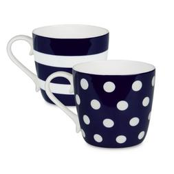Konitz Dark Blue Dots and Stripes Mugs, Set of 2