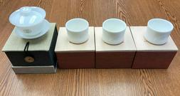 "De Hua ""Jade Porcelain""  Gaiwan & matching 3 Tea Cups"
