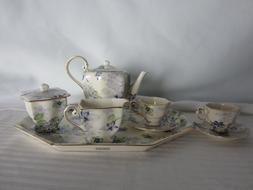 Delton Mini Tea Set Porcelain Purple Flowers 10 pieces with