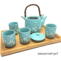 """6 1/2"""" Deluxe Teal with White Plum-Flower Japanese Ceramic T"""