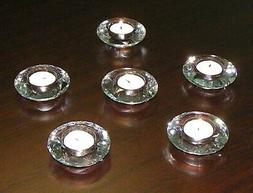 Amlong Crystal Diamond Tealight Candle Holder, Clear, 6 piec