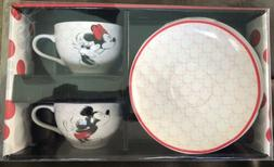 Disney Mickey Mouse Red & White Tea Cup Set w/2 Plates