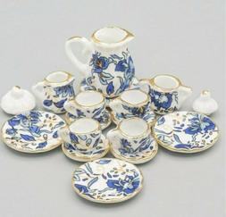 Dollhouse Miniature Tea Set 1:12 Blue Porcelain Chintz with