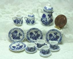 "Dollhouse Miniature Tea Set in ""Blue Onion"" Blue and White P"