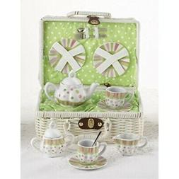 Delton Large Dollies Tea Set/ Basket, Sprinkles