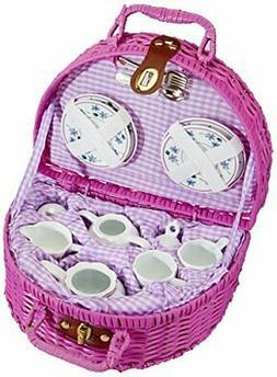 Delton Products Dollies Tea Set in Basket, Purple/Violet