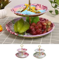 Double Layer Tray Fruit Plate <font><b>Cake</b></font> Candy