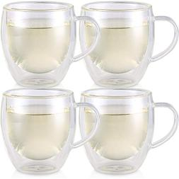 Teabloom Double Walled Cups – Set of 4 Insulated Glass Cup