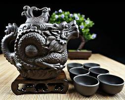 """Dragon Tea Set 8 Pieces - Teapot + Lid + 6 Cups - The """"Origi"""