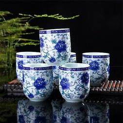 Set Of 6 Eastern Asian Design Ceramic Tea Cups In Blue-And-W