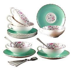 Jusalpha Elegant Blue Tea Cup and Saucer Set-Coffee Cup Set