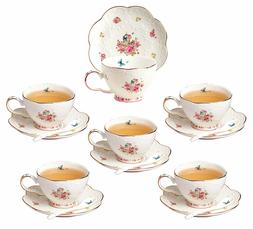 Jusalpha Elegant China Tea Cup and Saucer Set-Coffee Cup wit