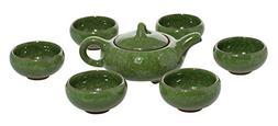 JustNile Elegant Chinese Kung Fu Style Ceramic Teapot and 6