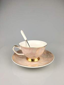 Elegant Marble Texture Bone China Tea Cup Coffee Cup Set Bir