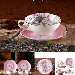 Jusalpha Elegant Porcelain Tea Cup and Saucer Set-Coffee Cup
