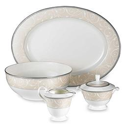 Mikasa Elegant Scroll Pearl Covered Sugar Bowl and Creamer S