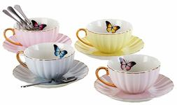 Jusalpha® Elegant Tea Cup with Saucer and Spoon Set- 4 Colo