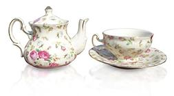 Elizabeth Park Floral Rose Chintz Tea for One Porcelain Cup,