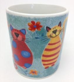 Elizabethan Floral Cats Art Coffee Tea Mug - Made in England