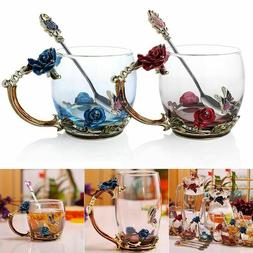 Enamel Glass Rose Flower Tea Cup Set Spoon Coffee Cup Cold D