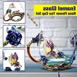 Enamel Glass Tea Cup Mug Spoon Set Blue Flower Butterfly Par