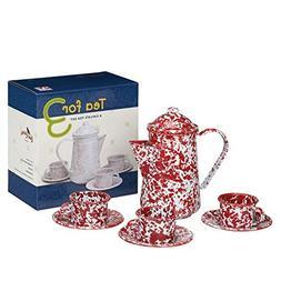 Enamelware Tea Child's Tea Set for 3 - Red Marble