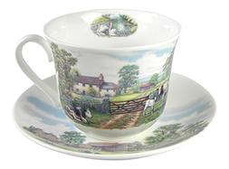 Roy Kirkham Teacup and Saucer Set with English Countryside D