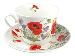 Roy Kirkham English Meadow Poppy Flower Breakfast Teacup and