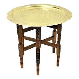 Engraved Large Moroccan Tray Table with Cedar Wood Base