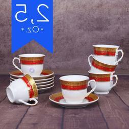 Espresso Coffee Cups Set Demitasses 2.5 oz 12 Pieces White P