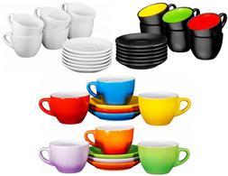 Bruntmor Espresso Cups and Saucers Set of 6 Tea Coffee Serve