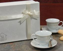 Set of 2 Espresso Set Cup And saucer 2 Cup And 2 Saucers Gol