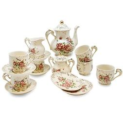 YALONG Rose Tea Set, Teapot Set -15 pcs Includes Cup and Sau