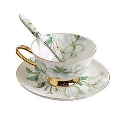 Bone China Ceramic Tea Cup Coffee Cup,Camellia,White And Gre