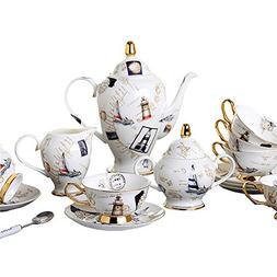 European Royal England Bone China Ceramic 15-Piece Tea Set C