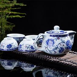 Exquisite 5 PCS Blue-And-White Peony Design Ceramic Tea Pot