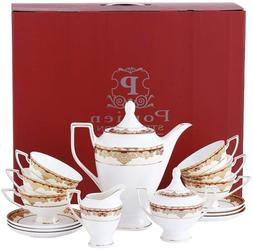 Porlien Exquisite 17-Piece Gold Tea Set Trimmed with Red, Po