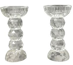 Amlong Crystal Faceted Round Crystal Candle/Tealight Holder,