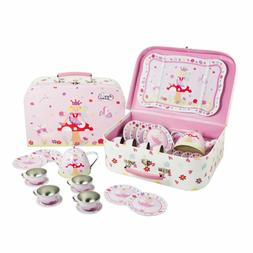 Lucy Locket Fairy Tale Tin Tea Set  Carry Case Toy  Pink