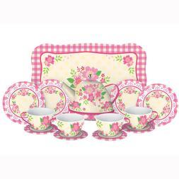 Fancy Tin Tea Set - 15 Pieces Kitchen Play by Schylling Bran